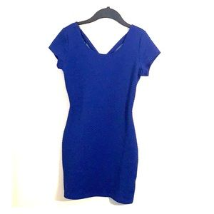 Deep blue crisscross bodycon mini dress